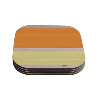 Kess InHouse KESS Original 'Spring Swatch - Tangerine Custard' Orange Yellow Coasters (Set of 4)