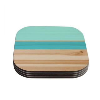 Kess InHouse KESS Original 'Spring Swatch - Blue Green' Teal Wood Coasters (Set of 4)