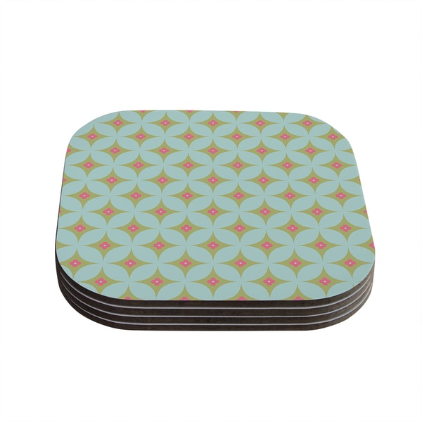 Kess InHouse KESS Original 'Retro Aquamarine' Teal Green Coasters (Set of 4)