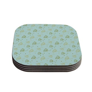 Kess InHouse KESS Original 'Floating Dandelion ' Green Teal Coasters (Set of 4)