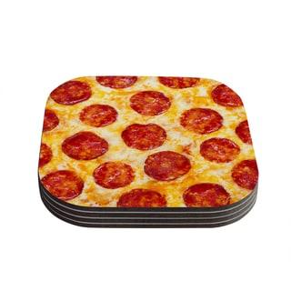 Kess InHouse KESS Original 'Pizza My Heart' Pepperoni Cheese Coasters (Set of 4)