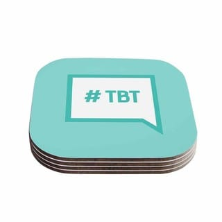 Kess InHouse KESS Original 'Throw Back Thursday' Teal and White Compressed Wood Set of 4 Coasters