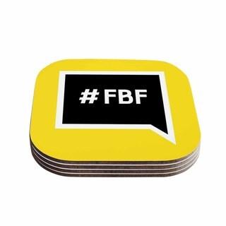 Kess InHouse KESS Original 'Flash Back Friday' Black Yellow Coasters (Set of 4)
