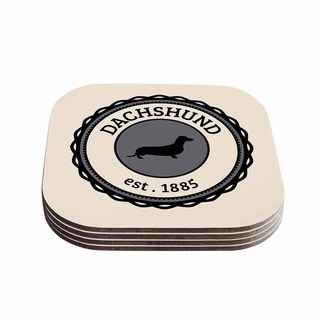 Kess InHouse KESS Original 'Dachshund' Beige Black Coasters (Set of 4)
