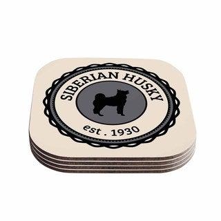 Kess InHouse KESS Original 'Husky' Husky Dog Coasters (Set of 4)