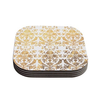 Kess InHouse KESS Original 'Baroque Gold' Abstract Floral Coasters (Set of 4)