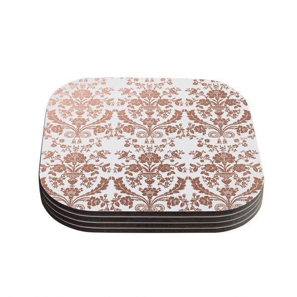 Kess InHouse KESS Original 'Baroque Rose Gold' Abstract Floral Coasters (Set of 4)