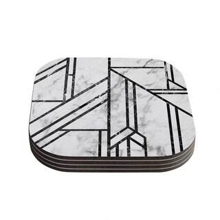 Kess InHouse KESS Original 'Black Marble Mosaic' Geometric Modern Coasters (Set of 4)