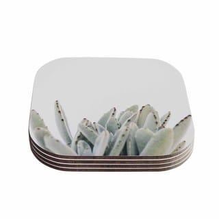 Kess InHouse KESS InHouse Succulent 3 Green Wood Coasters (Set of 4)