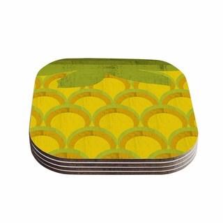 Kess InHouse Kathleen Kelly 'Pineapple' Digital Food Coasters (Set of 4)