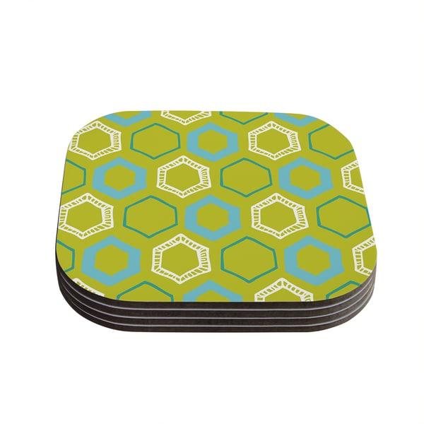 Kess InHouse Laurie Baars 'Hexy Lime' Green Blue Coasters (Set of 4)
