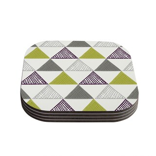 Kess InHouse Laurie Baars 'Textured Triangles Green' Gray White Coasters (Set of 4)