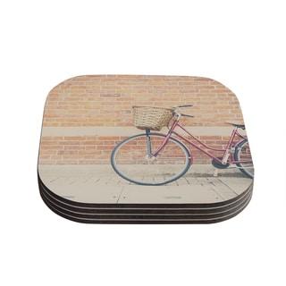 Kess InHouse Laura Evans 'A Red Bicycle' Orange Brown Coasters (Set of 4)