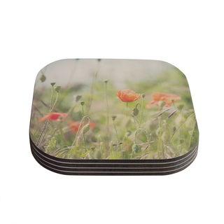 Kess InHouse Laura Evans 'Fields of Remembrance' Green Orange Coasters (Set of 4)