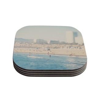 Kess InHouse Laura Evans 'Santa Monica Beach' Brown Blue Coasters (Set of 4)