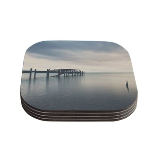 Kess InHouse Laura Evans 'Waiting for the Storm to Pass' Gray Blue Coasters (Set of 4)