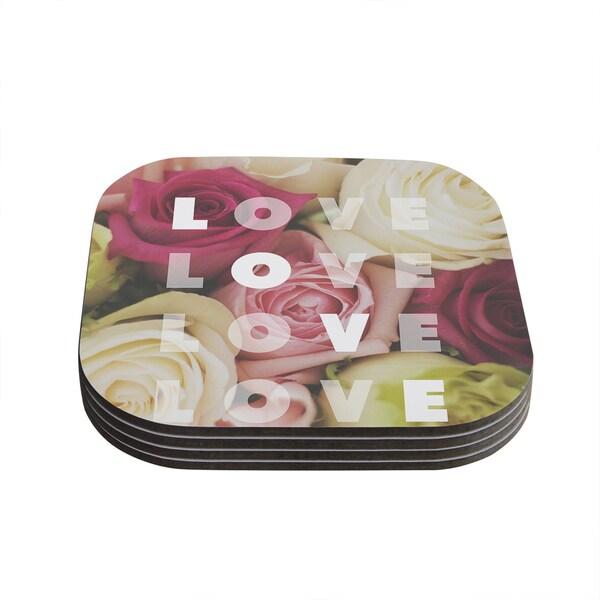 Kess InHouse Libertad Leal 'Love Love Love' Roses Coasters (Set of 4)