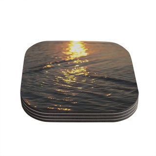 Kess InHouse Libertad Leal Still Waters Sunset Compressed Wood Set of 4 Coasters