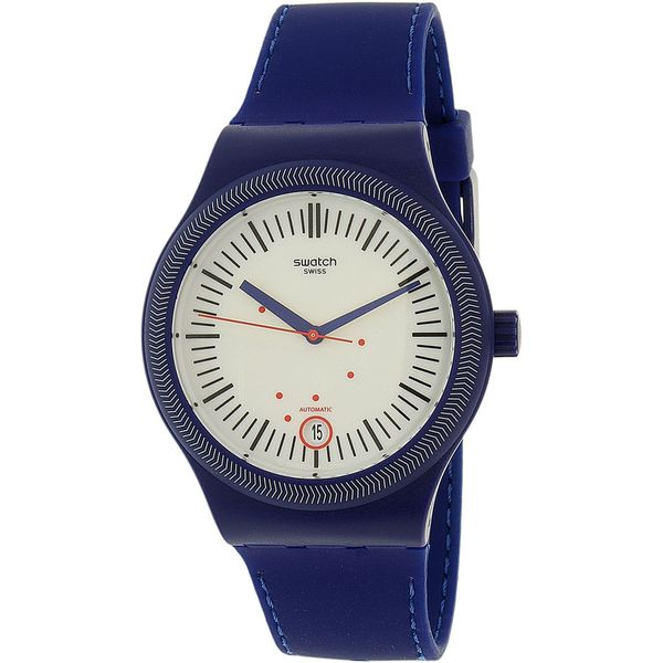Swatch Men's SUTA401 'Sistem Clouds' Automatic Black Silicone Watch. Opens flyout.