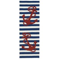 Indoor/ Outdoor Beachcomber Anchor Navy Rug - 2' x 6'
