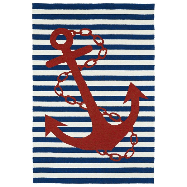 Anchor Rugs: Indoor/ Outdoor Beachcomber Anchor Navy Rug (3' X 5