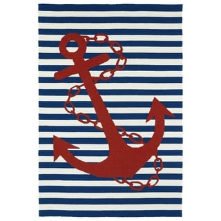 Indoor/Outdoor Beachcomber Anchor Navy Rug (5' x 7'6)