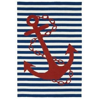 """Indoor/Outdoor Beachcomber Anchor Navy Rug (7'6 x 9') - 7'6"""" x 9'"""