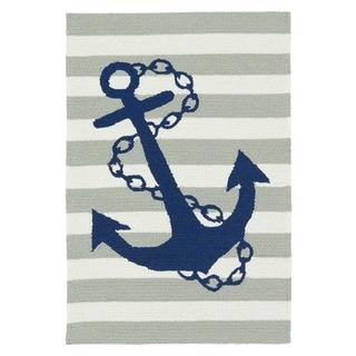 Indoor/Outdoor Beachcomber Anchor Grey Rug (2' x 3')