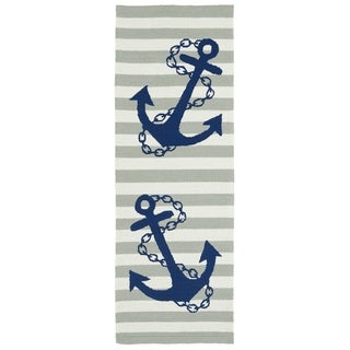 Indoor/Outdoor Beachcomber Anchor Grey Rug (2' x 6')