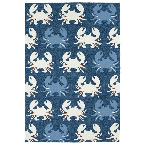 Indoor/ Outdoor Beachcomber Crab Navy Rug - 7'6 x 9'
