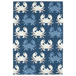 Indoor/ Outdoor Beachcomber Crab Navy Rug (7'6 x 9')