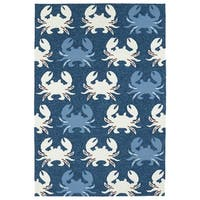 Indoor/ Outdoor Beachcomber Crab Navy Rug - 5' x 7'6