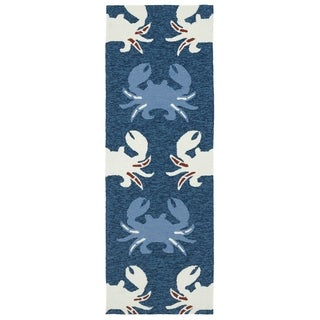 Indoor/ Outdoor Beachcomber Crab Navy Rug (2' x 6')