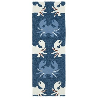 Indoor/ Outdoor Beachcomber Crab Navy Rug (2' x 6') - 2' x 6'