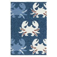 Indoor/Outdoor Beachcomber Crab Navy Rug - 2' x 3'