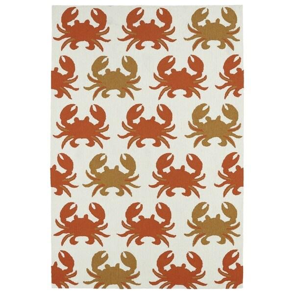 Indoor/ Outdoor Beachcomber Crab Ivory Rug - 7'6 x 9'