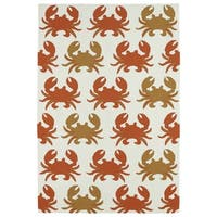 Indoor/ Outdoor Beachcomber Crab Ivory Rug - 7'6 x 9'