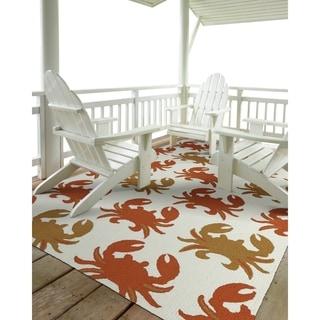 Indoor/Outdoor Beachcomber Crab Ivory Rug (3' x 5') - 3' x 5'