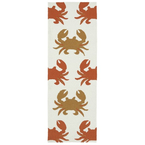 Indoor/Outdoor Beachcomber Crab Ivory Rug - 2' x 6'