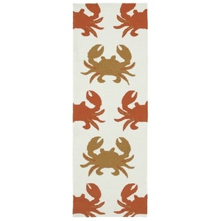 Indoor/Outdoor Beachcomber Crab Ivory Rug (2' x 6')