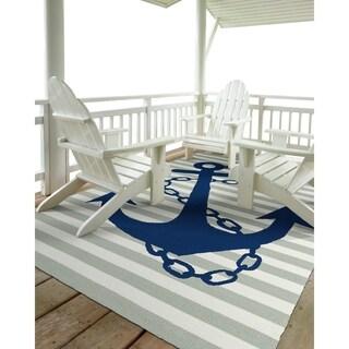 Indoor/ Outdoor Beachcomber Anchor Grey Rug (9' x 12')