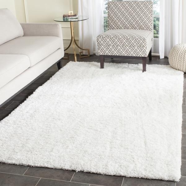 Plush Rug Zinc: Shop Safavieh Handmade Florence Shag White Polyester Rug