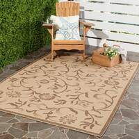 Martha Stewart by Safavieh Swirling Garden Cream/ Brown Indoor/ Outdoor Rug - 4' x 5' 7