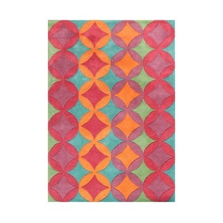 Alliyah Apsamikku Ancient Mesopotamian Handcrafted Square Pattern Wool Floor Rug (5' x 8')