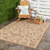 Martha Stewart by Safavieh Swirling Garden Cream/ Brown Indoor/ Outdoor Rug - 5' 3 x 7' 7