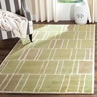 Martha Stewart by Safavieh Blocks Green/ Ivory Wool Rug - 5' x 8'