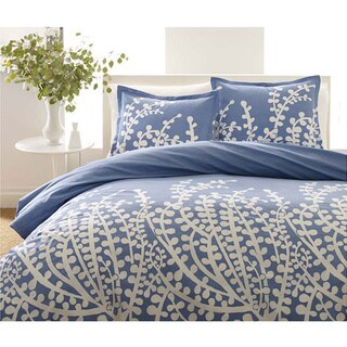 City Scene Branches French Blue 3-piece Full/ Queen Size Comforter Set (As Is Item)