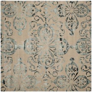 Safavieh Handmade Dip Dye Watercolor Vintage Camel/ Grey Wool Rug (7' Square)