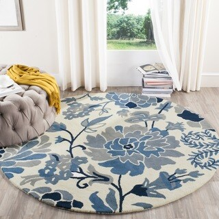 Martha Stewart by Safavieh Dreamy Floral Azurite Wool Rug (4' Round)