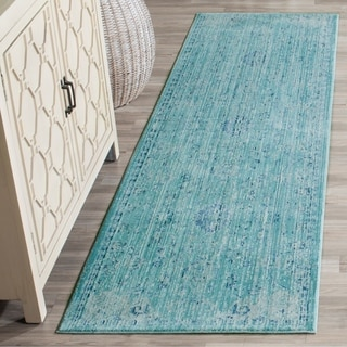 Safavieh Valencia Teal/ Multi Overdyed Distressed Silky Polyester Rug (2' 3 x 8')